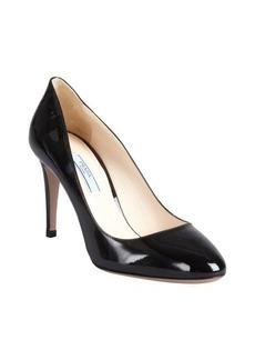 Prada black patent leather toe pumps