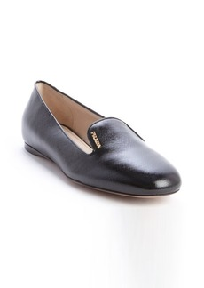 Prada black patent saffiano leather flats