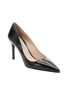 Prada black patent saffiano leather stiletto pumps