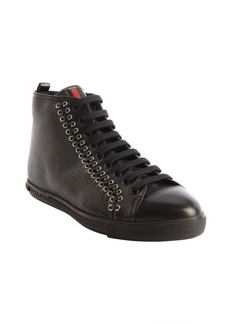 Prada black perforated leather multi-eyelet stitched high top sneakers