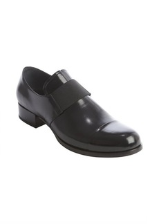 Prada black polished leather loafers
