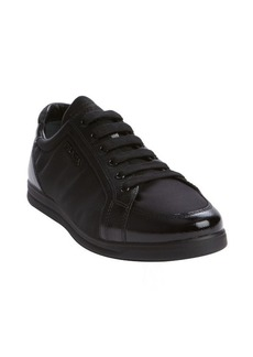 Prada black saffiano leather and satin lace up sneakers