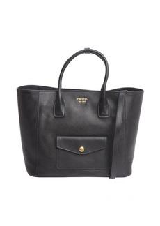 Prada black saffiano leather front pocket convertible tote