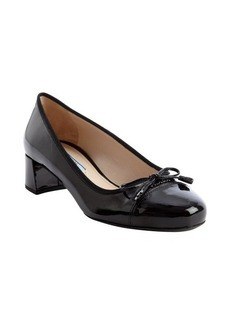 Prada black saffiano leather logo imprinted bow tie detail pumps