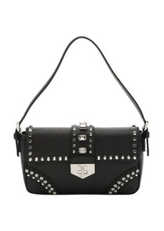 Prada black saffiano leather stud embellished shoulder bag