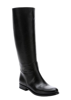 Prada black saffiano leather tall boots