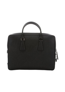 Prada black saffiano leather top handle bag