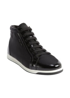 Prada black saffiano patent leather and satin high top sneakers