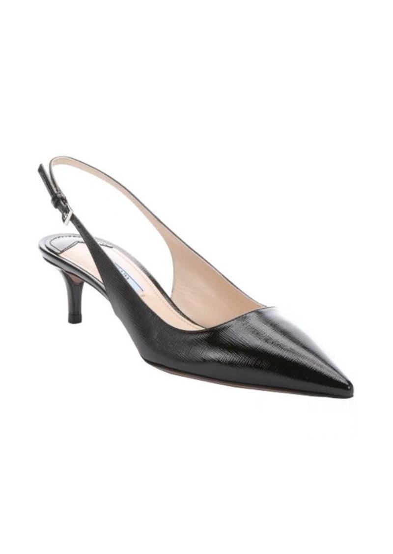 prada prada black saffiano slingback kitten heel pumps