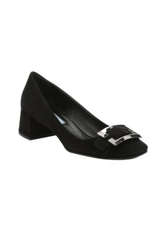 Prada black suede buckle detail pumps
