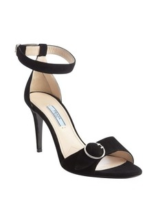 Prada black suede buckle detail sandals