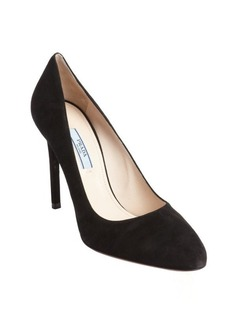 Prada black suede classic pumps