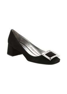 Prada black suede crystal buckle detail pumps