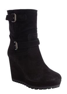 Prada black suede dual bucklestrap wedge heel boots