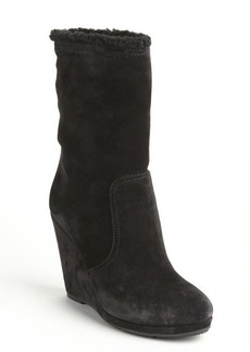 Prada black suede faux shearling lined mid-calf wedge boots