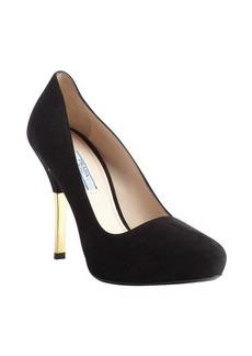 Prada black suede goldtone heel pumps