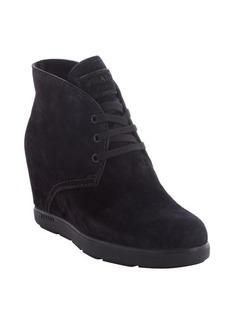 Prada black suede lace up wedge heel booties
