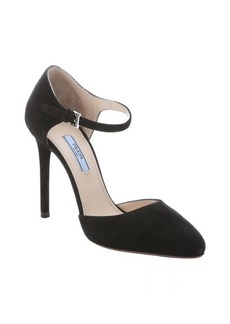 Prada black suede mary-jane d'orsay pumps