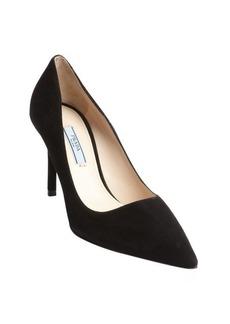 Prada black suede pointed toe pumps