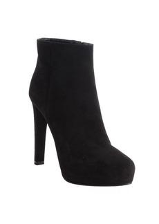 Prada black suede side zip platform heel booties