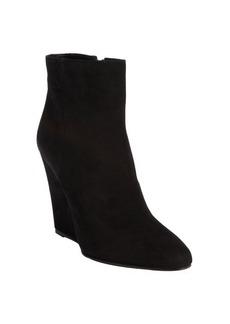 Prada black suede side zip wedge heel ankle boots