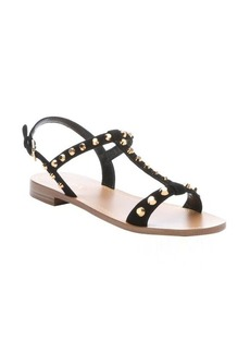 Prada black suede studded t-strap sandals