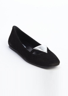 Prada black suede triangle patch flats