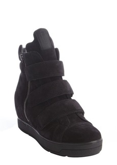 Prada black suede wedge hi-top sneakers