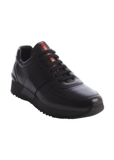 Prada black tonal leather sneakers