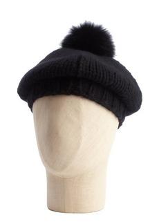 Prada black wool blend knit hat with real dyed black fox fur trim
