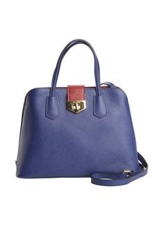 Prada blue and fire saffiano leather convertible tote bag