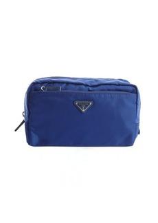 Prada blue nylon large cosmetic case