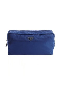 Prada blue nylon large travel pouch