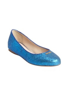 Prada blue sequence covered raised logo flats