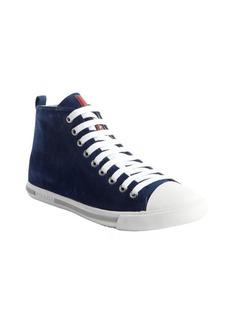 Prada blue suede high top sneakers
