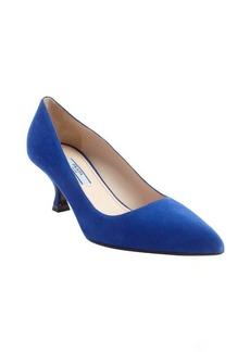 Prada blue suede pointed toe kitten heel pumps