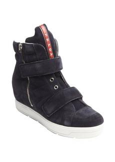 Prada blue suede side zip wedge heel sneakers