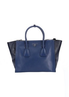 Prada bluette and dark blue leather convertible top handle tote