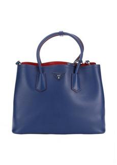 Prada bluette and red leather 'City' convertible handbag