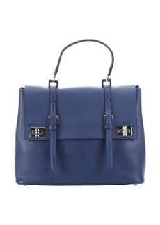 Prada bluette leather buckle detail convertible tote bag