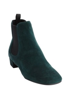 Prada bottle green suede square toe ankle boots