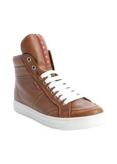 Prada brandy leather zipper detail high top sneakers