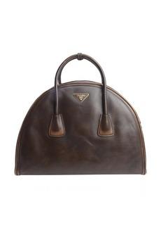 Prada brown distressed leather top handle bowling bag