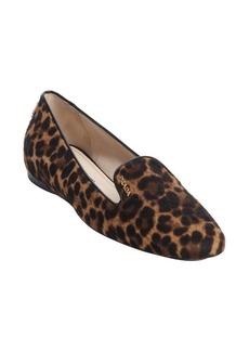 Prada brown leopard print calf hair slip-on loafers
