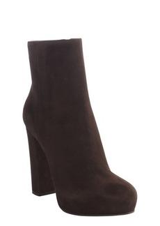 Prada brown suede side zip heel boots