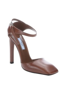 Prada burnt brown leather d'orsay square toe pumps