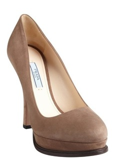 Prada camel suede platform heels