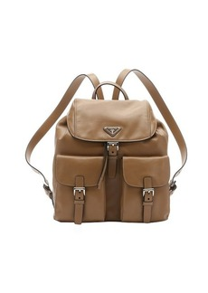Prada caramel calfskin double buckle backpack