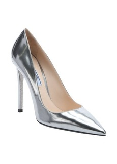 Prada chrome leather stiletto pumps