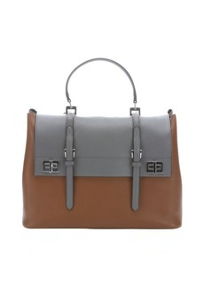 Prada cinnamon and grey leather buckle accent convertible top handle bag
